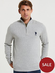 us-polo-assn-knit-classic-14-zip-grey