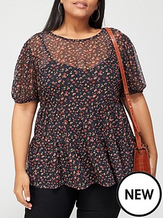 v-by-very-curve-longline-mesh-tiered-top-floral-print
