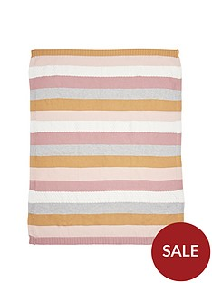mamas-papas-knitted-blanket-multi-stripe-pink
