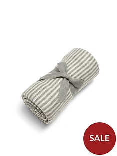 mamas-papas-knitted-blanket-grey-white-stripe