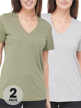 v-by-very-valuenbsp2-pack-vee-neck-t-shirt-khakigrey