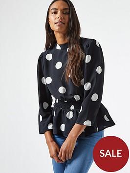 dorothy-perkins-shirred-waist-peplum-spot-top-black