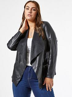 dorothy-perkins-curve-pu-waterfall-jacket-black