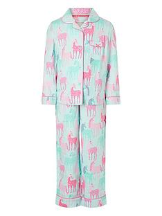 monsoon-girls-organic-horse-print-flannel-pyjama-set-pink