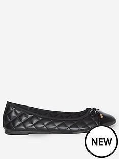 dorothy-perkins-wide-fit-penelope-quilted-toe-cap-ballerina-pumps--nbspblack