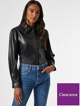 dorothy-perkins-faux-leather-pu-shirt--nbspblack