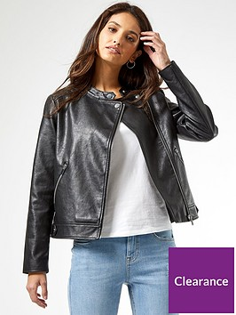 dorothy-perkins-faux-leather-pu-collarless-jacket-black