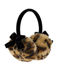 monsoon-girls-leopard-print-velvet-bow-earmuffs-multi