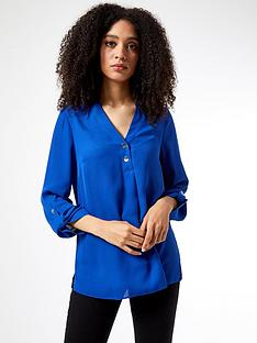dorothy-perkins-roll-sleeve-shirt-bluenbsp