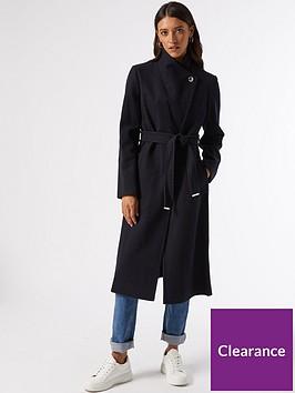 dorothy-perkins-glossy-funnel-collar-belted-coat--nbspnavy