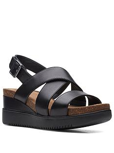 clarks-lizby-cross-leather-wedge-sandal-black