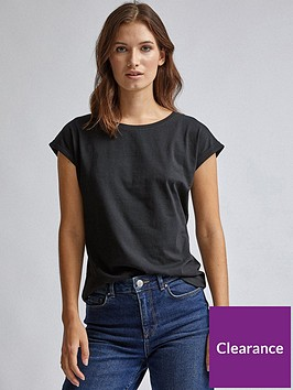 dorothy-perkins-roll-sleeve-organic-tee-black