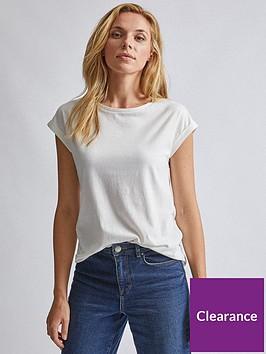 dorothy-perkins-roll-sleeve-organic-tee-white