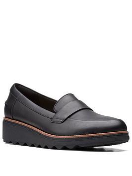 clarks-sharon-gracie-leather-wedge-shoe-black