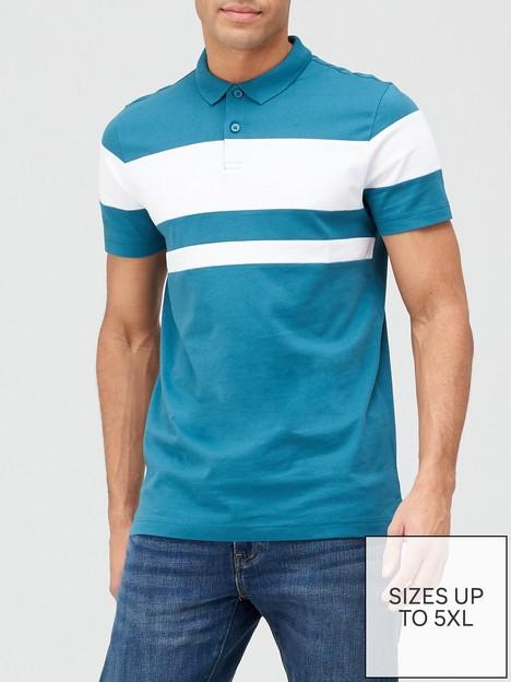 very-man-colour-block-polo-shirt-green