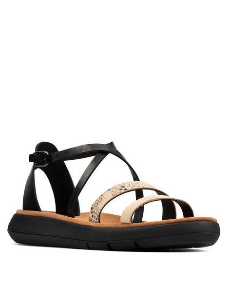 clarks-jemsa-strap-leather-flat-sandal-black