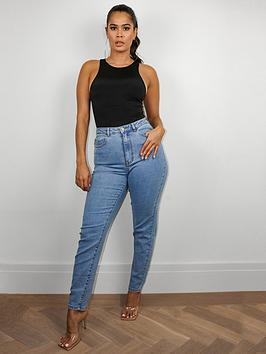 missguided-missguided-high-waisted-comfort-stretch-mom-jean-blue