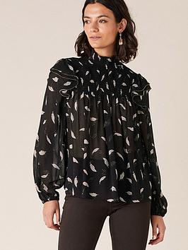 monsoon-feather-print-sustainable-blouse-black