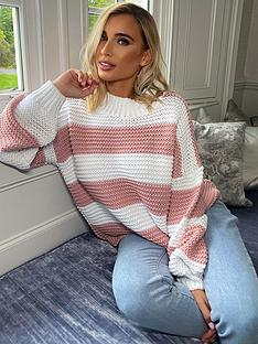 in-the-style-in-the-style-x-billie-faiersnbspstripe-oversized-jumper-pink