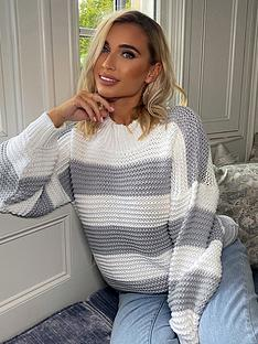 in-the-style-in-the-style-x-billie-faiers-grey-stripe-oversized-jumper