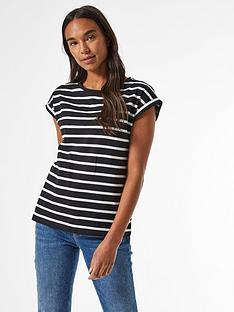 dorothy-perkins-stripednbsporganic-roll-sleeve-tee-blacknbsp