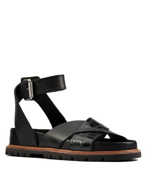 clarks-orianna-cross-leather-flat-sandal-black