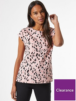 dorothy-perkins-animal-print-roll-sleeve-top--nbsppink