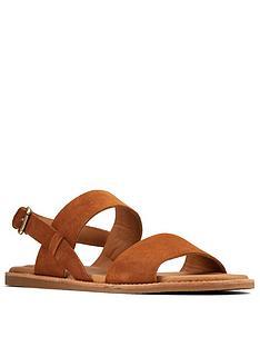 clarks-karsea-strap-leather-flat-sandal-tan