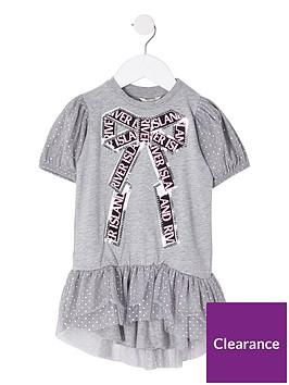 river-island-mini-mini-girls-sequin-spot-bow-t-shirt-dress-grey