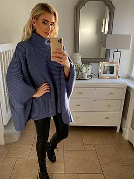 in-the-style-in-the-style-x-billie-faiers-oversizednbspcape-jumper-navy