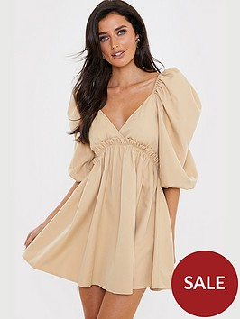 in-the-style-in-the-style-x-lorna-luxe-tan-exaggerated-puff-sleeve-babydoll-dress