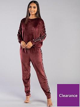 boux-avenue-leopard-panel-velour-pyjamanbsptop-burgundy