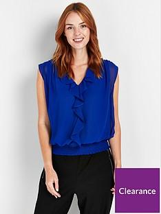 wallis-frill-front-sleeveless-blouson-top-bluenbsp
