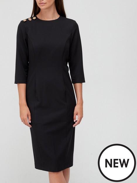 v-by-very-button-shoulder-midi-dress-black