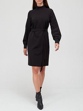 v-by-very-high-neck-belted-mini-dress-black