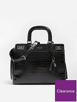 guess-katey-patent-croc-cross-body-satchel-black