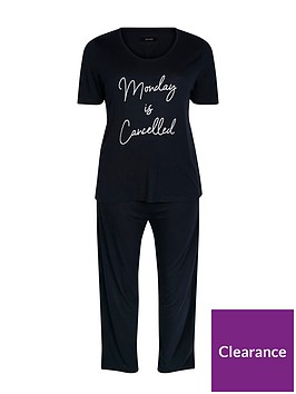 evans-mondays-are-cancelled-pyjama-set-navy