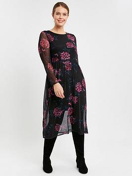 evans-floral-mesh-tiered-dress-black