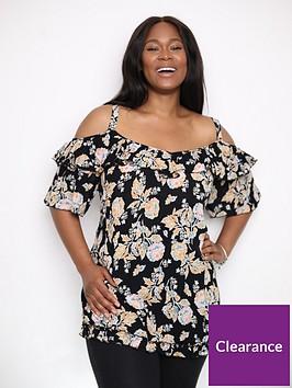 evans-floral-print-cold-shoulder-top-black