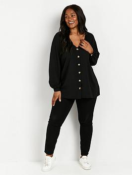 evans-sweetheart-neck-top-black