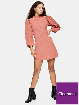 topshop-cord-baby-doll-dress-pink