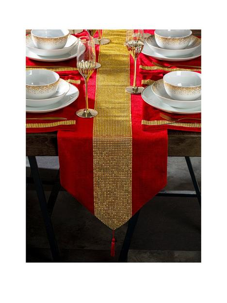 waterside-7-piece-velvet-diamante-red-and-gold-christmasnbsprunner-and-placematsnbspset