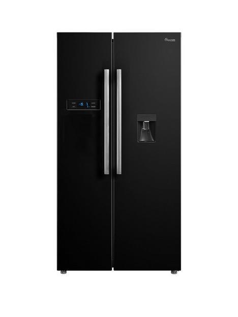 swan-swannbspsr70111b-90cm-american-style-double-door-frost-free-fridge-freezer-with-water-dispenser-black
