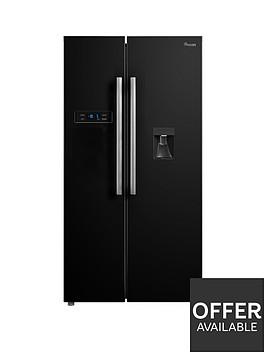 swan-swansr70111b-90cm-american-style-double-door-frost-free-fridge-freezer-with-water-dispenser-black