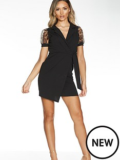 quiz-quiz-black-short-wrap-dress-with-animal-organza-sleeve