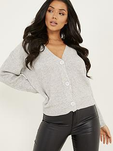 quiz-soft-knit-3-buttons-crop-cardigan-grey