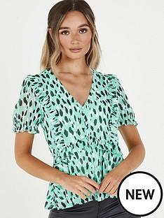 quiz-chiffon-frill-peplum-blouse-green