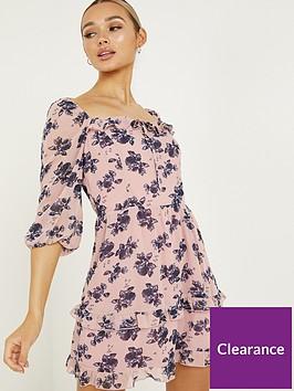 quiz-chiffonnbspskater-dress-pinknavy