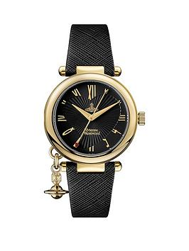 vivienne-westwood-vivienne-westwood-orb-heart-black-and-gold-detail-charm-dial-black-leather-strap-ladies-watch
