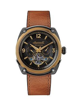 ingersoll-ingersoll-limited-edition-the-michigan-black-and-bronze-plated-automatic-dial-tan-leather-strap-watch